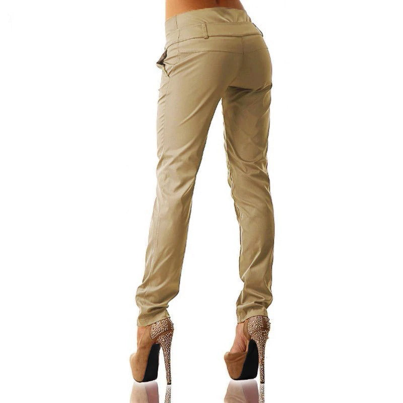 Long High Waist Buttons Zipper Solid Trousers