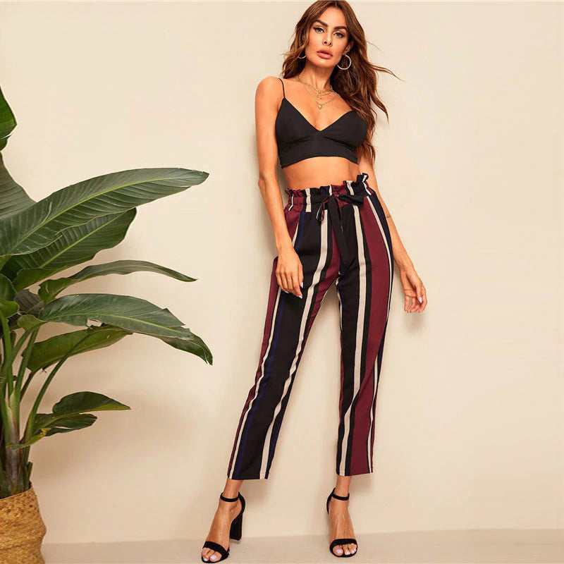 Paper-bag Waist Striped Pants Office Trousers