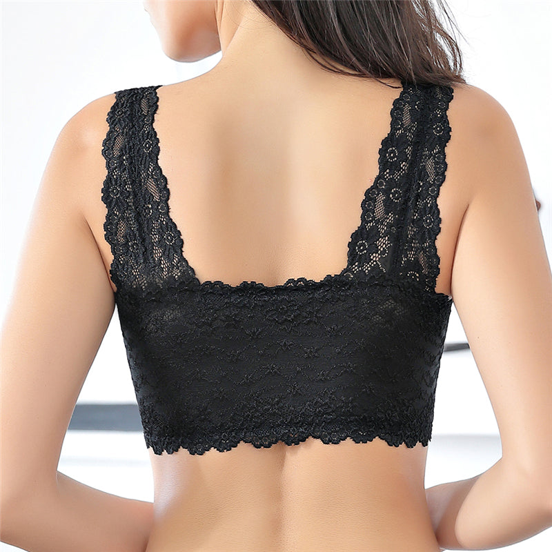 Female Vest Front Zipper Push Up Bra Full Cup Sexy Lace Bralette