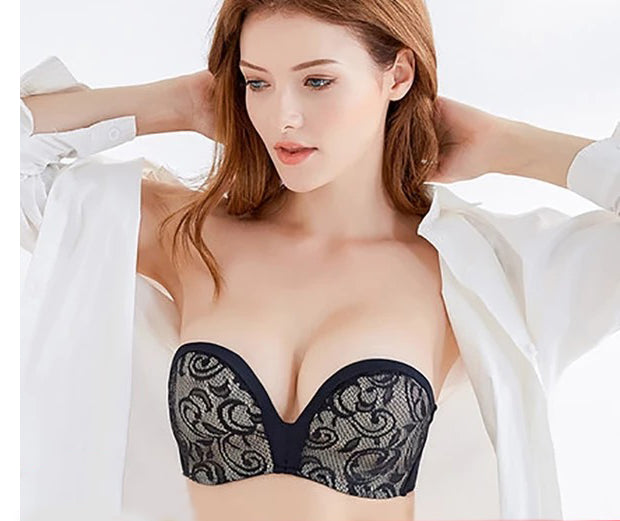 Sexy Lace Invisible Strapless Push Up Backless Lingerie Bra - 1/2 Cup Seamless
