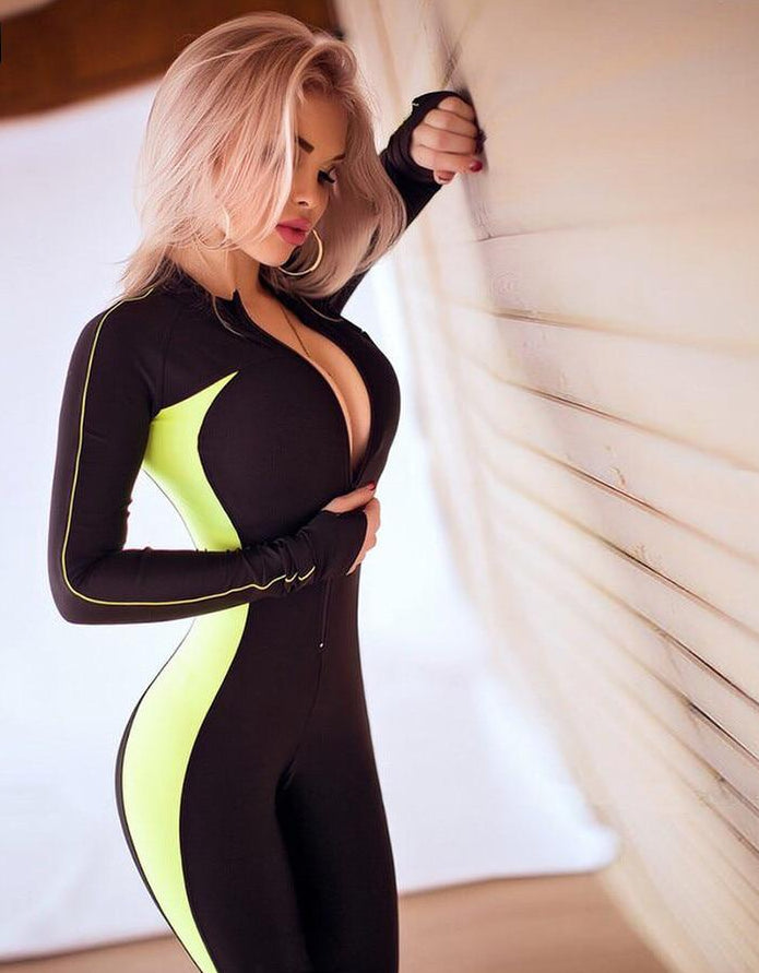 Fluorescent color patchwork female push up fitness jumpsuits
