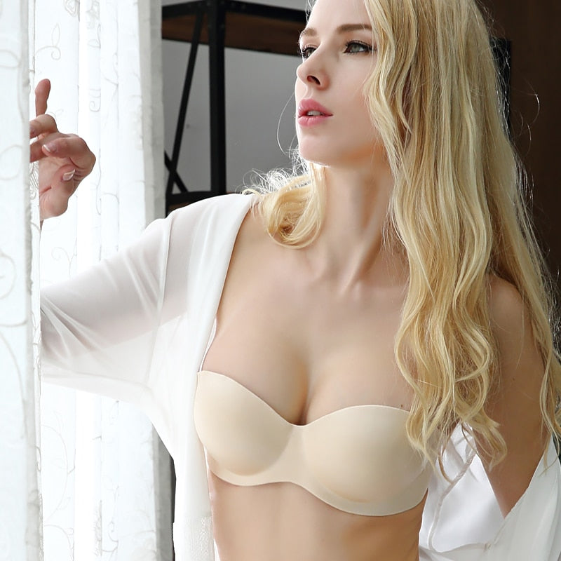 1/2 Cup Sexy Gather Push Up Invisible Strapless Bra
