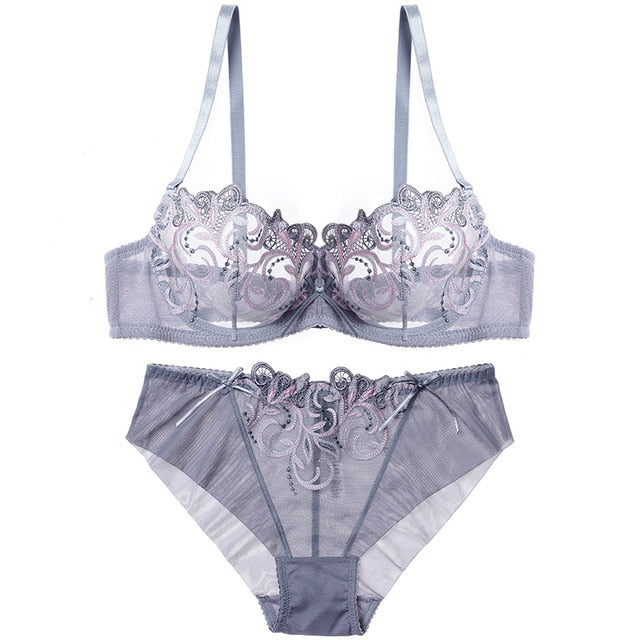 High Fashion Sexy Erotic Transparent Ultra-thin Embroidery Seamless Lingerie Set