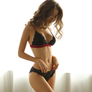 Irresistible Sexy Erotic Lingerie Set Lace Stripe Wire Free Bra & Panties