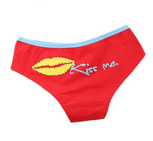 "'s cotton briefs print ""Kiss Me"" Comfortable Home Panties"