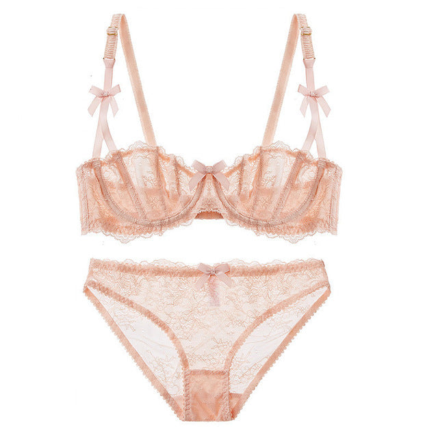 Ultra thin transparent Sexy lace bra Embroidery Bow lingerie Set