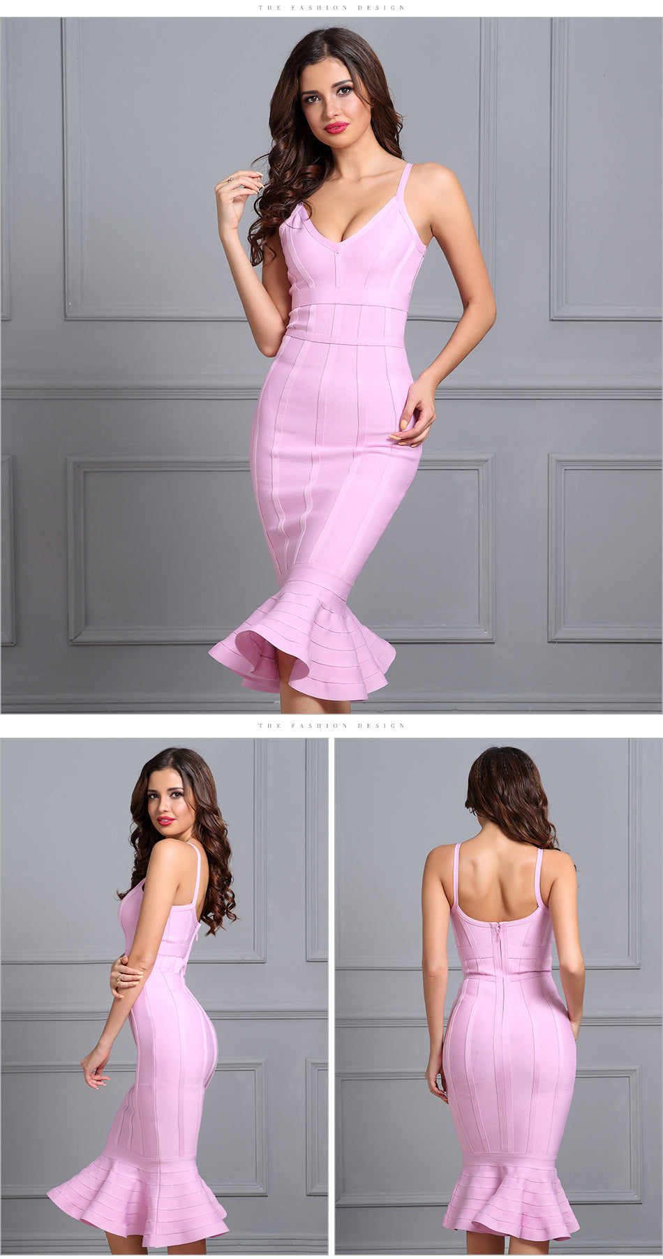 New Fashion Pink Spaghetti Strap Mermaid Evening Dress