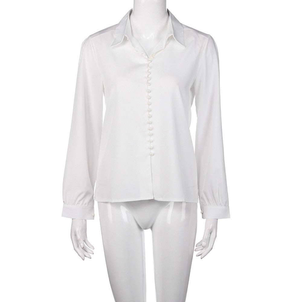 Blouse Solid Long Sleeves White Blouse For Office