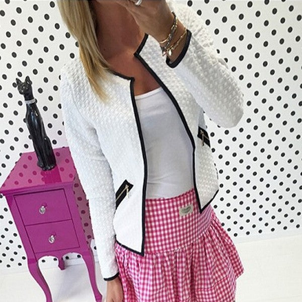 Plaid Thin Short Jacket Casual Slim Long Sleeve Blazer