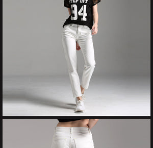 White Boyfriend Jeans For Women Mid-Waist Denim