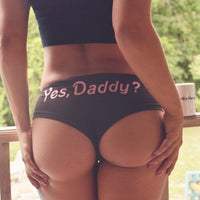 Sexy Lingerie Briefs Panties Knickers Yes Daddy Letter Printing