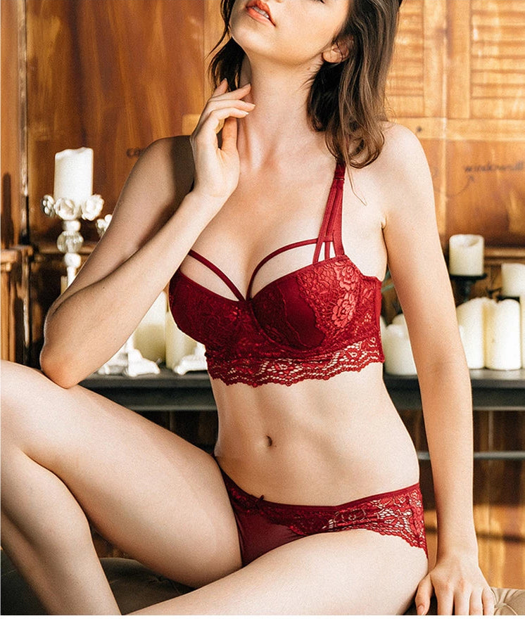 Push-up Bra and Panty Set 3/4 Cup Lace Lingerie Set