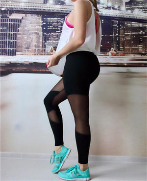 Sexy Patchwork Mesh Leggings Bandage High Waist Fitness Stretch Leggings