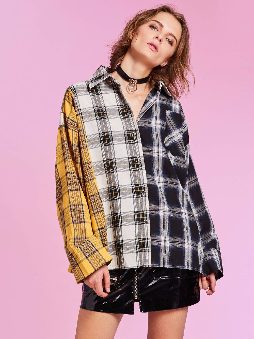 Shirt Plaid Shirt Cotton Long Sleeve Patchwork Blouse