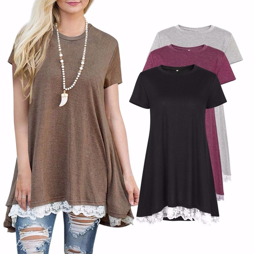 s Casual Lace Short Sleeve Shirt Pullover Tops Blouse