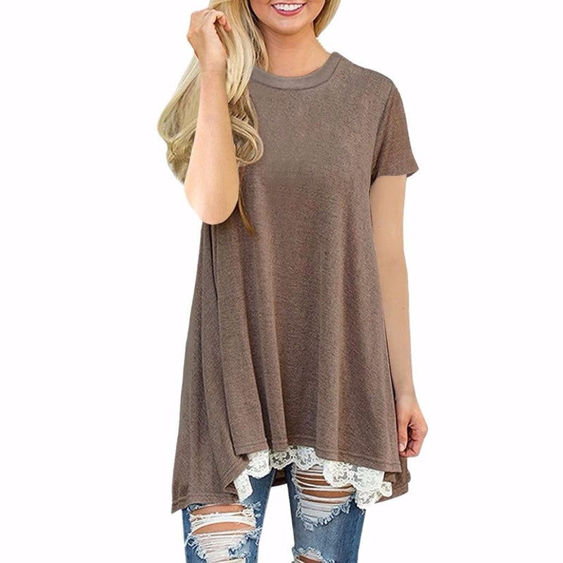 s Casual Lace Short Sleeve Pullover Tops
