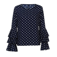 Fashion 's Bell Sleeve Loose Polka Dot Casual Tops