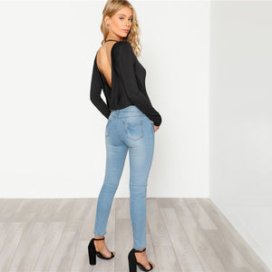 Black Backless Solid Skinny Bodysuit Round Neck Open Back Long Sleeve