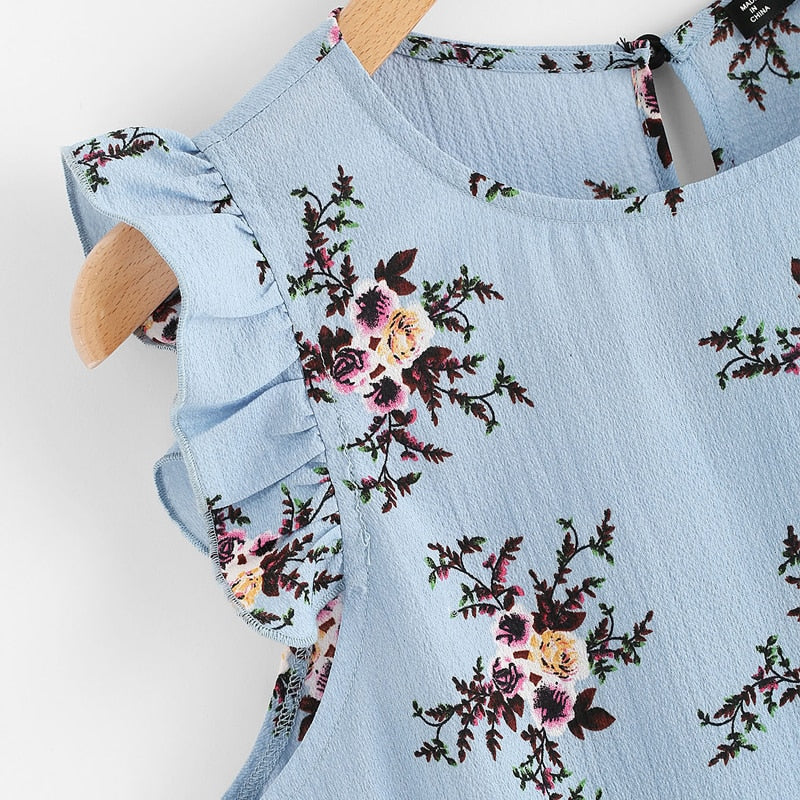 Frilled Armhole Button Closure Back Floral Camis Top