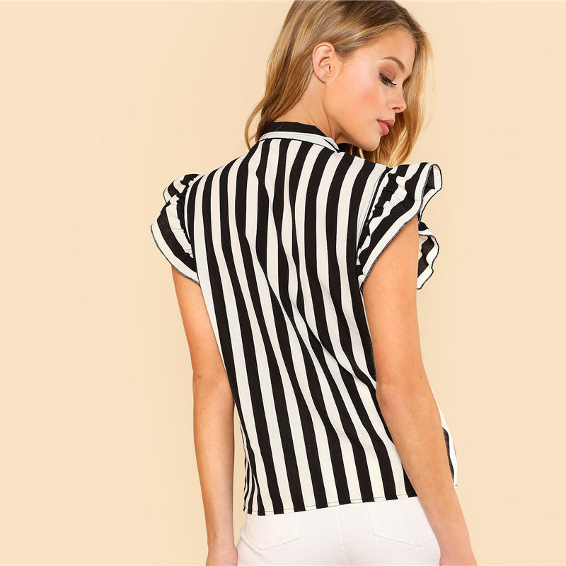 Top Work Cap Sleeve Striped Blouse