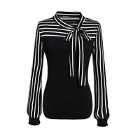 Tie-Bow Neck Striped Long Sleeve Splicing