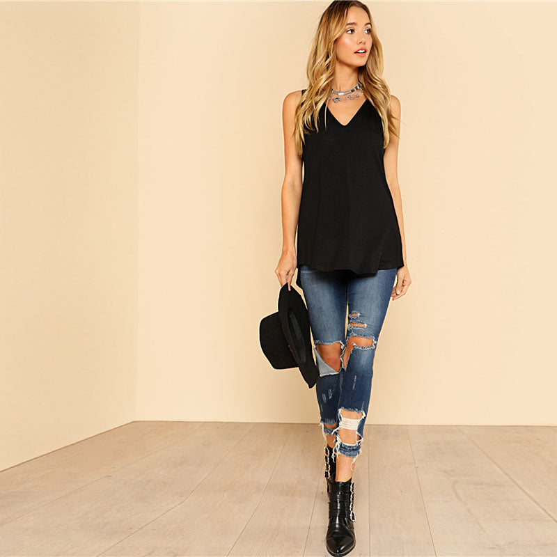 V Neck Dolphin Hem Tank Top Black Vest