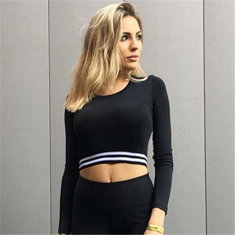 Long Sleeve Stripe Sport Gym Casual Tops Fitness Yoga T-