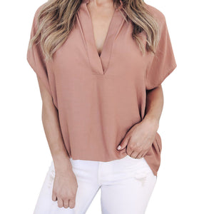 Chiffon Short Sleeve Casual Tops