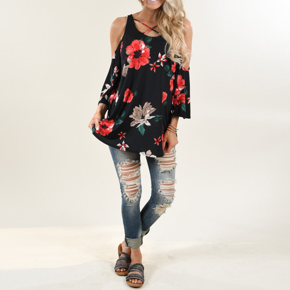 Floral Print T-Shirt Three Quarter Sleeve Off Shoulder Blouse