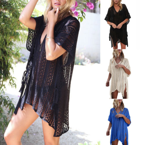 Summer Womens Beach Bandage Hollow Loose Mini Sundress