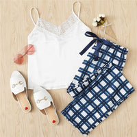 White Spaghetti Strap Lace Embellished Cami Plaid Pants Pajama Set