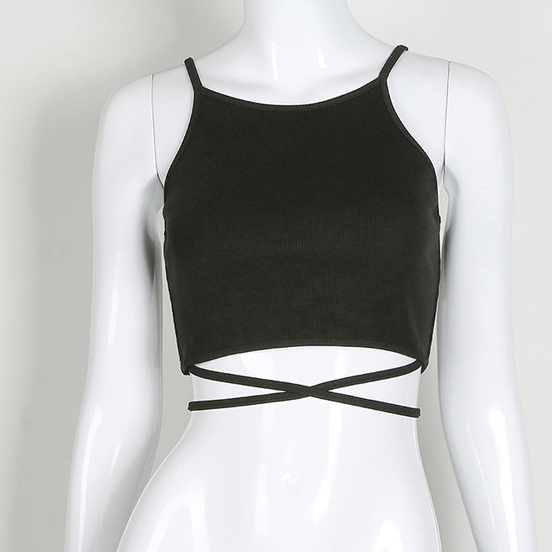 s Sexy Bandage Sleeveless Tank Crop Tops Vest T-