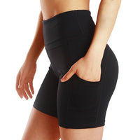 Women Big Side Pocket High Waist Shorts Fashion Fitness