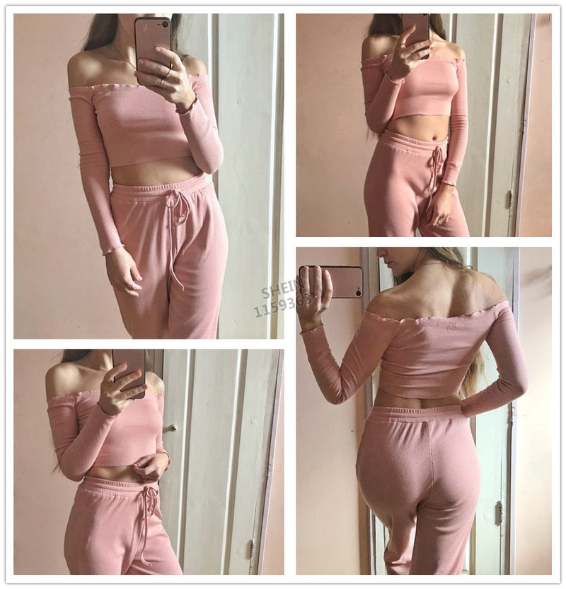 2 Piece Set Top and Pants Casual Woman Set Pink Crop Pants Set