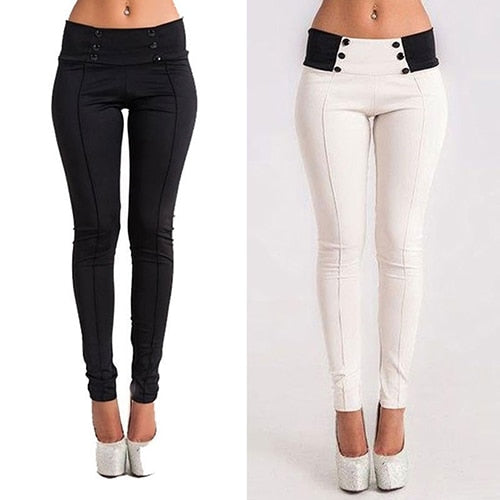 Casual Stretch Skinny Low Waist Button Decor Pencil Pants