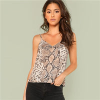 Snake Skin Print Cami Top Spaghetti Strap Casual Cool Sexy Fashion