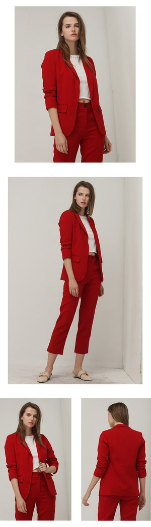 Voguish Fashion Red Puff Sleeve No Button Three Quarter Ladies Office Blazer