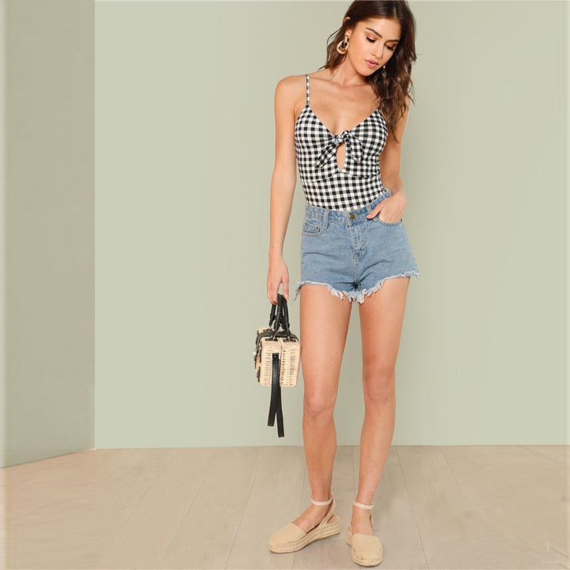 Spaghetti Strap Sexy Backless Plaid Cut Out Knot Skinny Cami Bodysuit