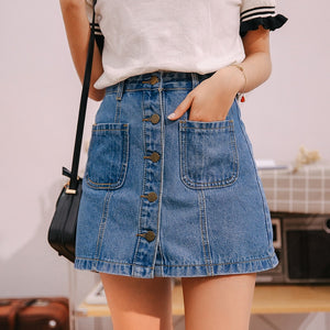 Denim Skirt High Waist A-line Mini Skirts Summer