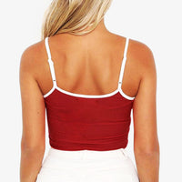 Sexy Adjustable Shoulder Straps Round Neck Sleeveless Crop Top