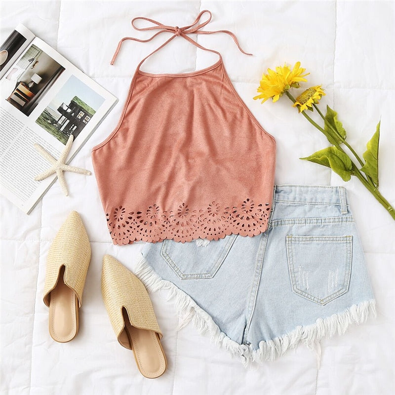 Scallop Laser Suede Halter Top Pink Cut Out Backless Sexy Crop Top