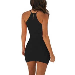 Sexy Summer Casual Backless Basic Strap Solid Sling Party Mini Dress