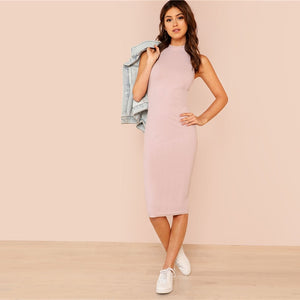 Pink Mock Neck Rib Knit Plain Pencil Dress Slim