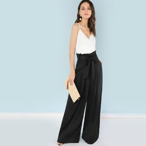 Self Belted Box Pleated Loose Long Pants