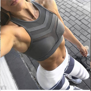 Active Women Fitness Crop Top - Polyester Sexy Mesh Patchwork Cool Fast Drying