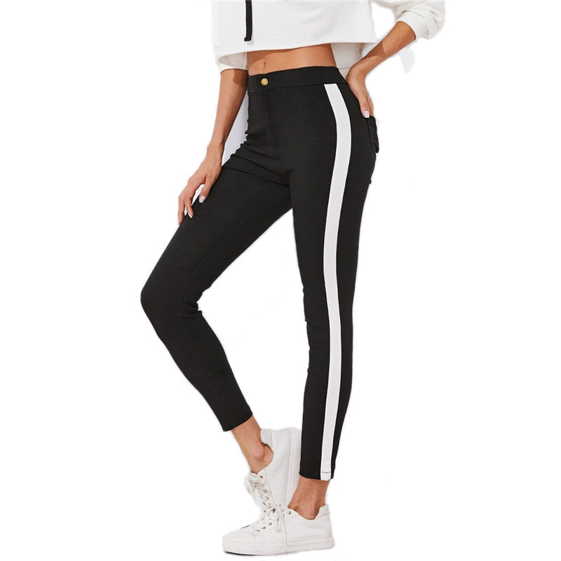 Contrast Panel Sporting Skinny Ankle Jeans Summer Straight Leg