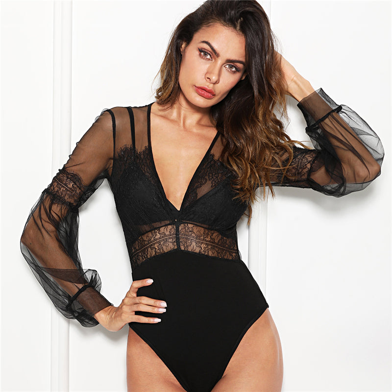 Sexy Plunge Neck Lace Insert Sheer Mesh Going Out Bodysuit