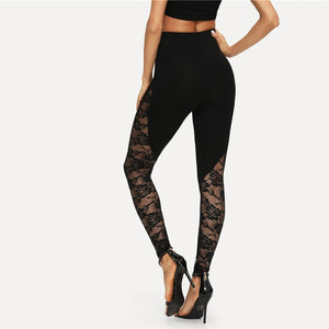 Black Sexy Sheer Floral Lace Insert Skinny Leggings
