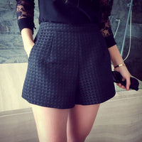 High Waist Shorts Europe Style Fashion Women Casual Plaid Shorts