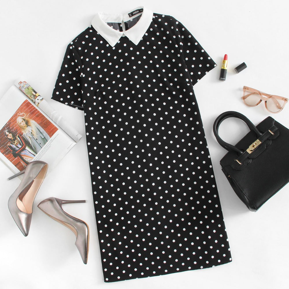 Contrast Collar Polka Dot Straight Dress Casual Summer